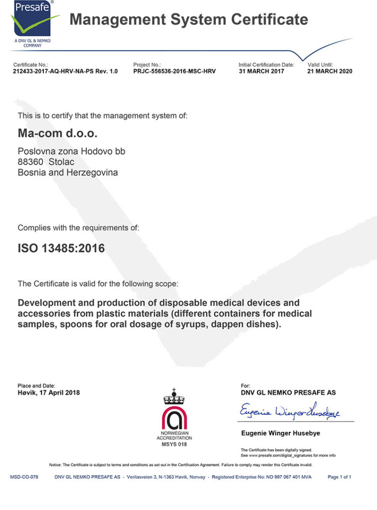 Certificate template - ISO 13485