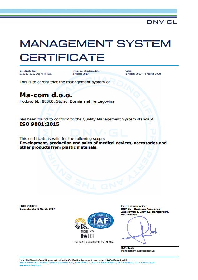 ISO 9001 2015 ma-com d.o.o.